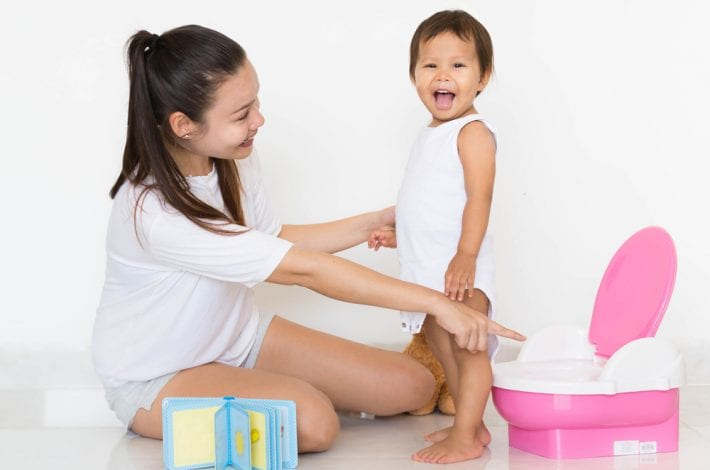 potty training - mother praising toddler