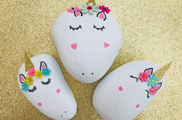 stone craft - kids craft - finished result