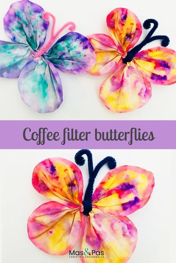 Fun kids crafts - make these beautiful coffee filter butterflies using just coffee filters and paints - a quick and easy spring butterfly craft to enjoy with the kids