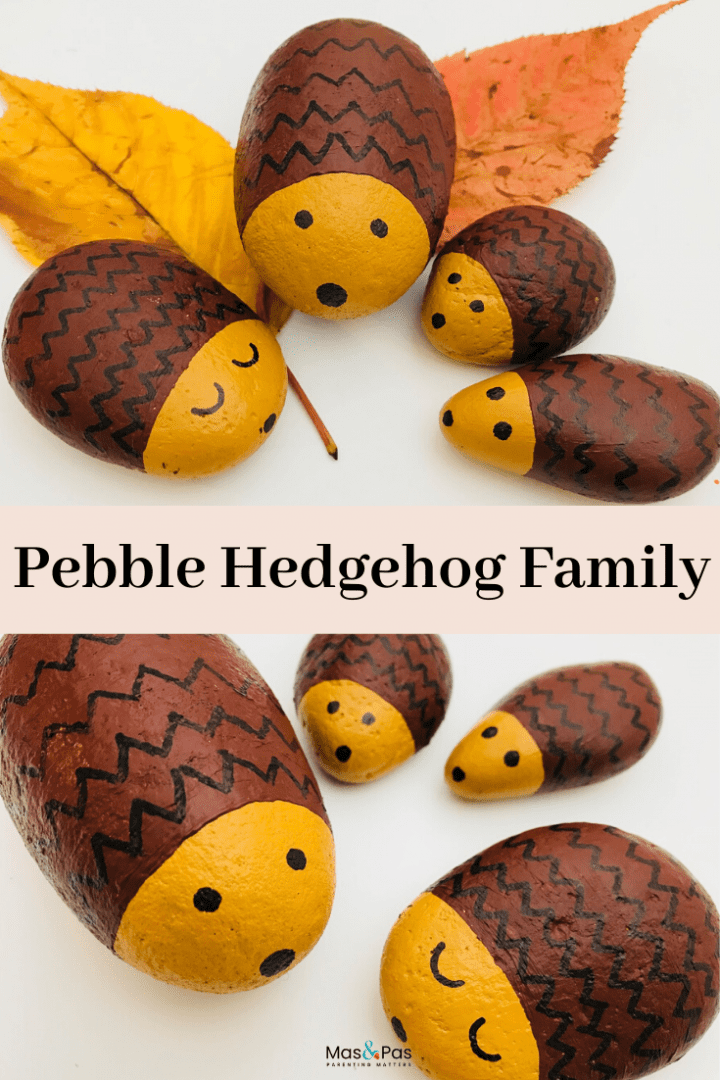Hedgehog pebble family - the cutest pebble craft - make this fun kids craft and put them on leaves in Autumn