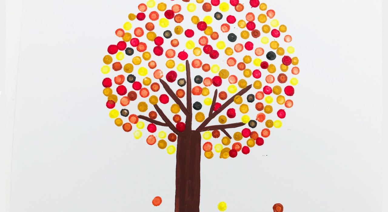 Kids Crafts Pointillism Tree with falling leaves