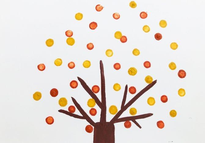 Kids Crafts Pointillism Tree step 3 build up leaves with pointillism