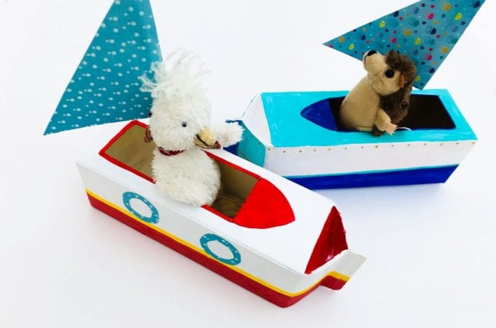Milk carton boats - make these milk or juice carton boats as a fun and simple kids craft - watch kids play with them as they sail off