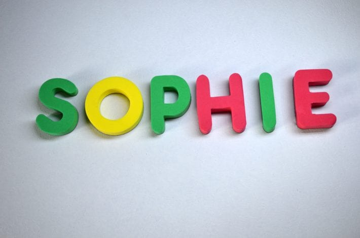 Name sophie spelled out in colourful letters