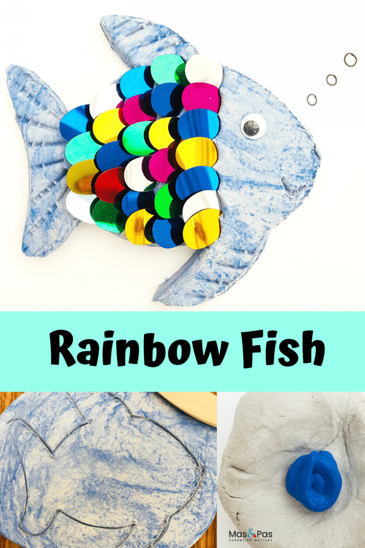 Rainbow fish craft - try this fun kids craft using air drying clay and colourful sequins. A quick and easy make for kids to enjoy