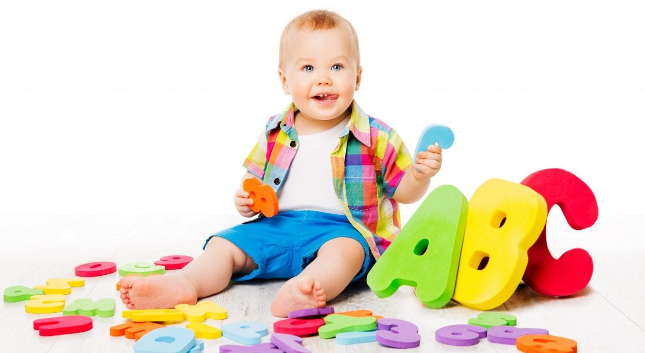 Toddlers learning first letters