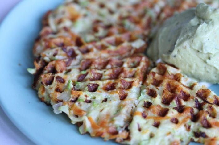 Vegetable waffles carrot and courgette - waffle with guacamole