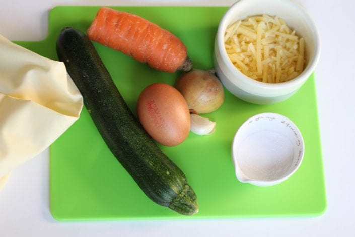 Vegetable waffles carrot and courgette - what you need 1