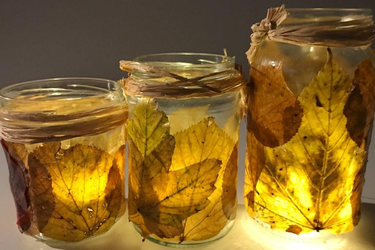fun kids crafts awesome autumn leaf lanterns - feature image