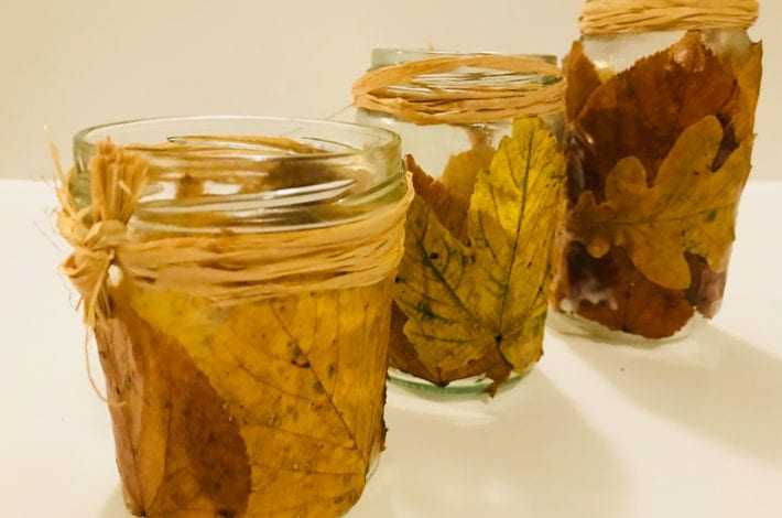 fun kids crafts - awesome autumn leaf lanterns finished result