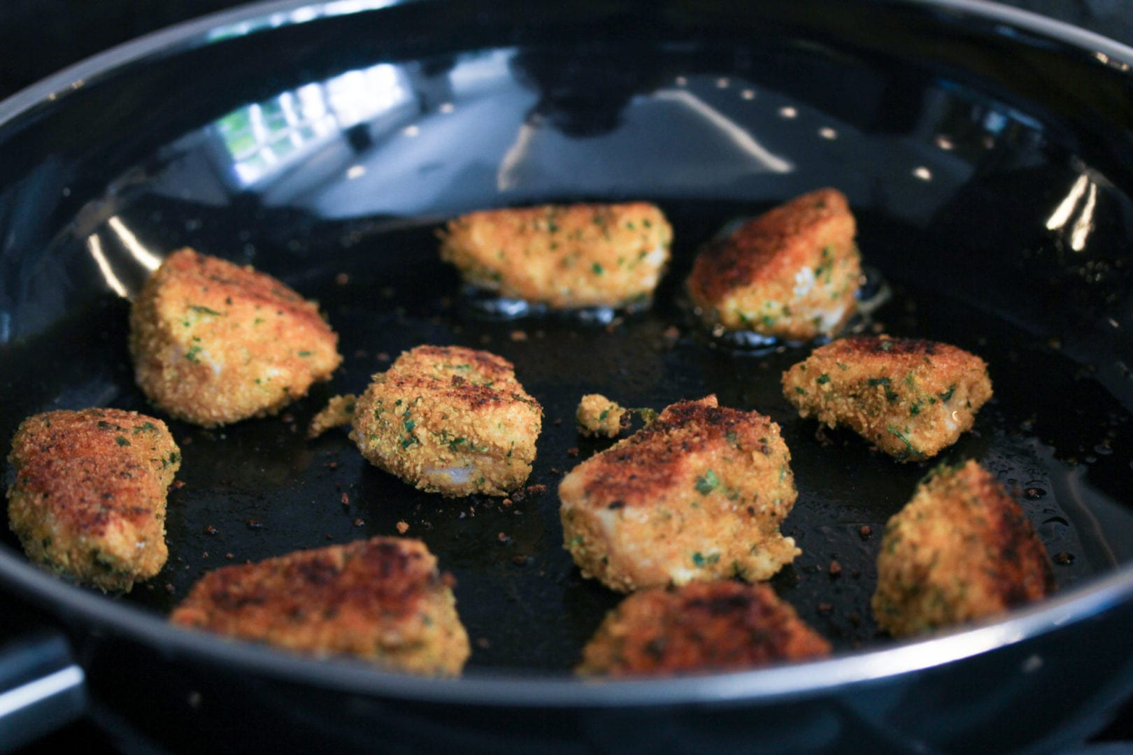 Gluten free chicken nuggets - healthy kids recipes - frying 1