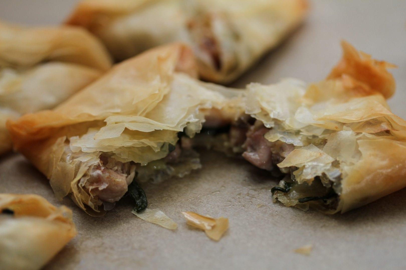 Kids dinner - chicken filo parcels - chicken mushroom and spinach filo pies