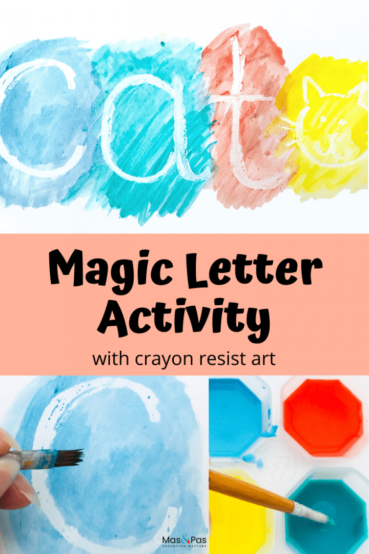 Magic letter activity - use crayon resist or wax resist art to make this magic letter activity and let your toddler have fun learning those first letters