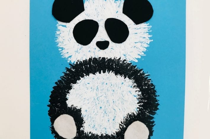 Panda fork painting - make these funky fork print pandas with your preschoolers - a simple kids craft with panda bears