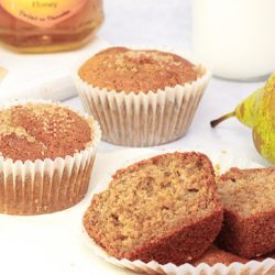 Pear and honey muffins made with wholewheat flour and mild spices for a delicious autumn treat