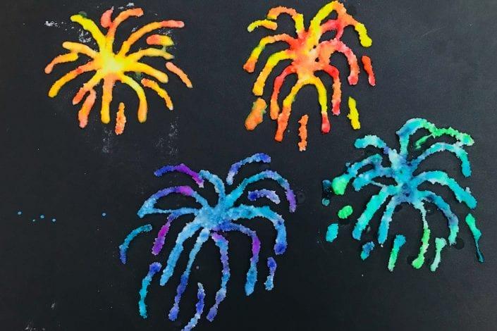 bonfire night craft - kids craft - salt fireworks