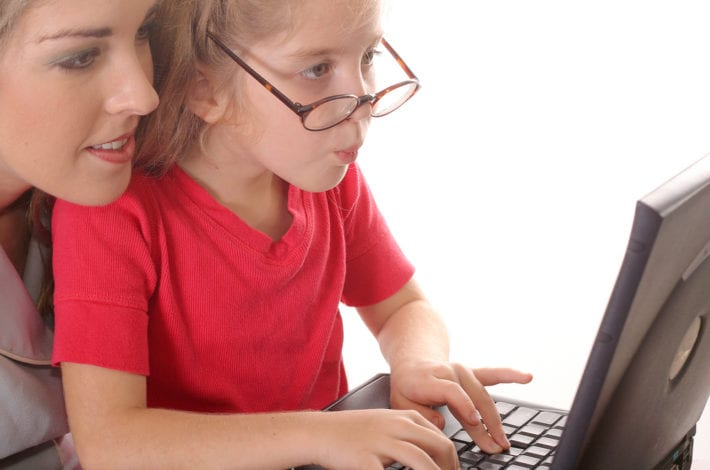 child safe online - mother and child on computer