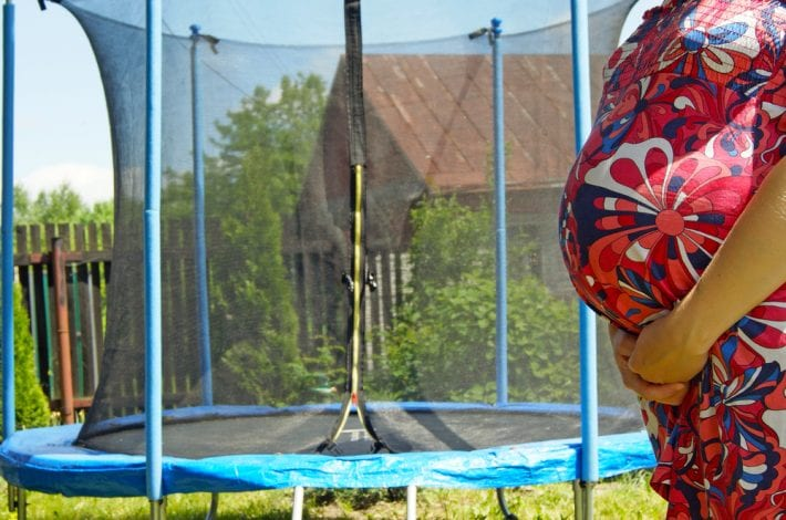 exercising during pregnancy - tips for staying safe - no trampolining when pregnant