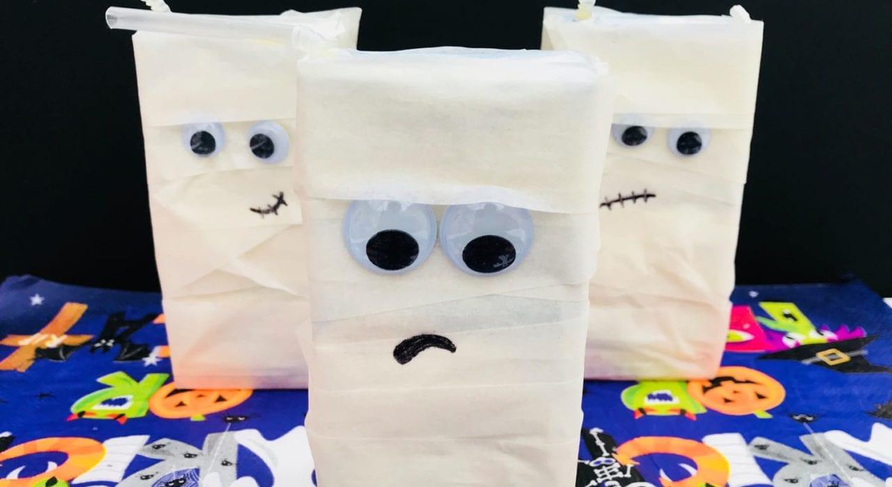 halloween party decorations - juice box mummies - halloween crafts - halloween kids crafts
