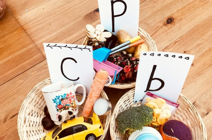 learning letters - first phonics - sorting baskets