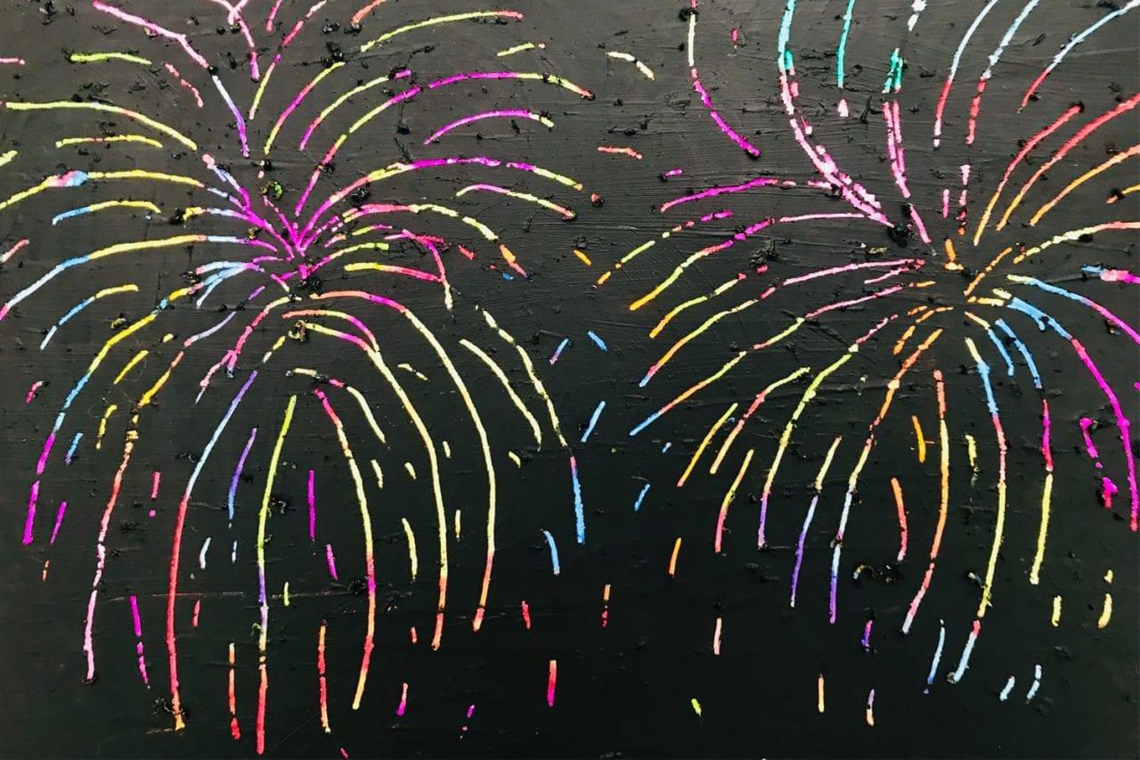 fireworks craft - scratch art fireworks