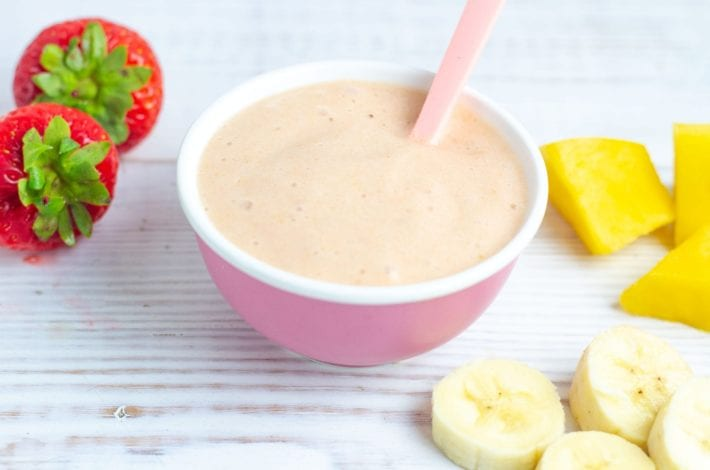 no cook baby puree made with ripe mango banana and strawberries for a delicious fruity breakfast