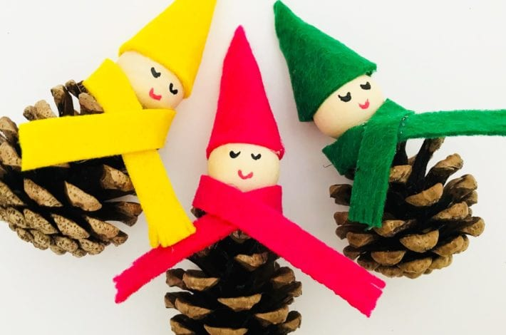 pine cone craft, pine cone elves, Christmas craft, kids crafts