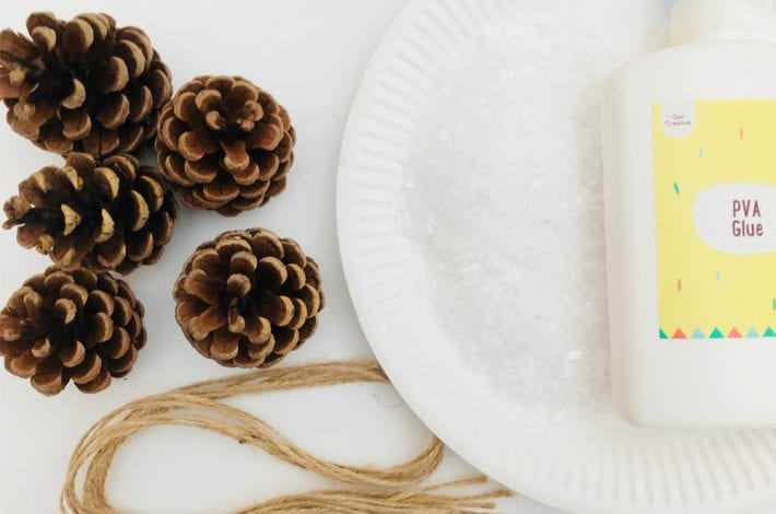 pine cone decorations - christmas decorations - snowy pine cones