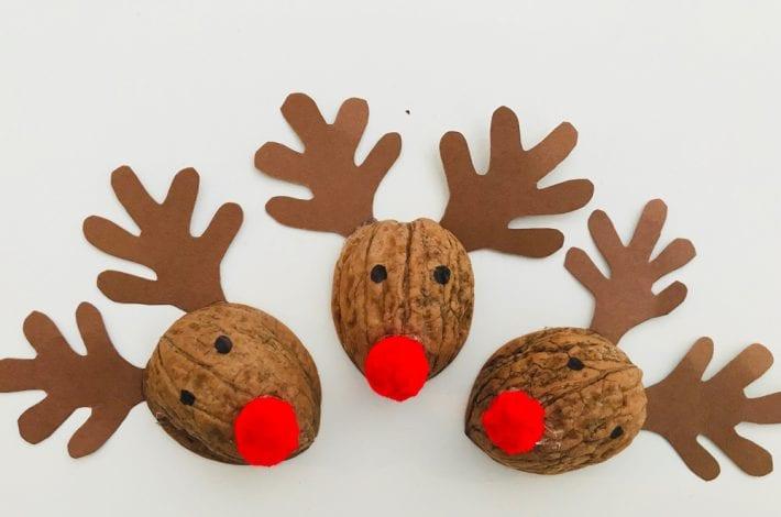 walnut rudolph - walnut crafts - christmas crafts