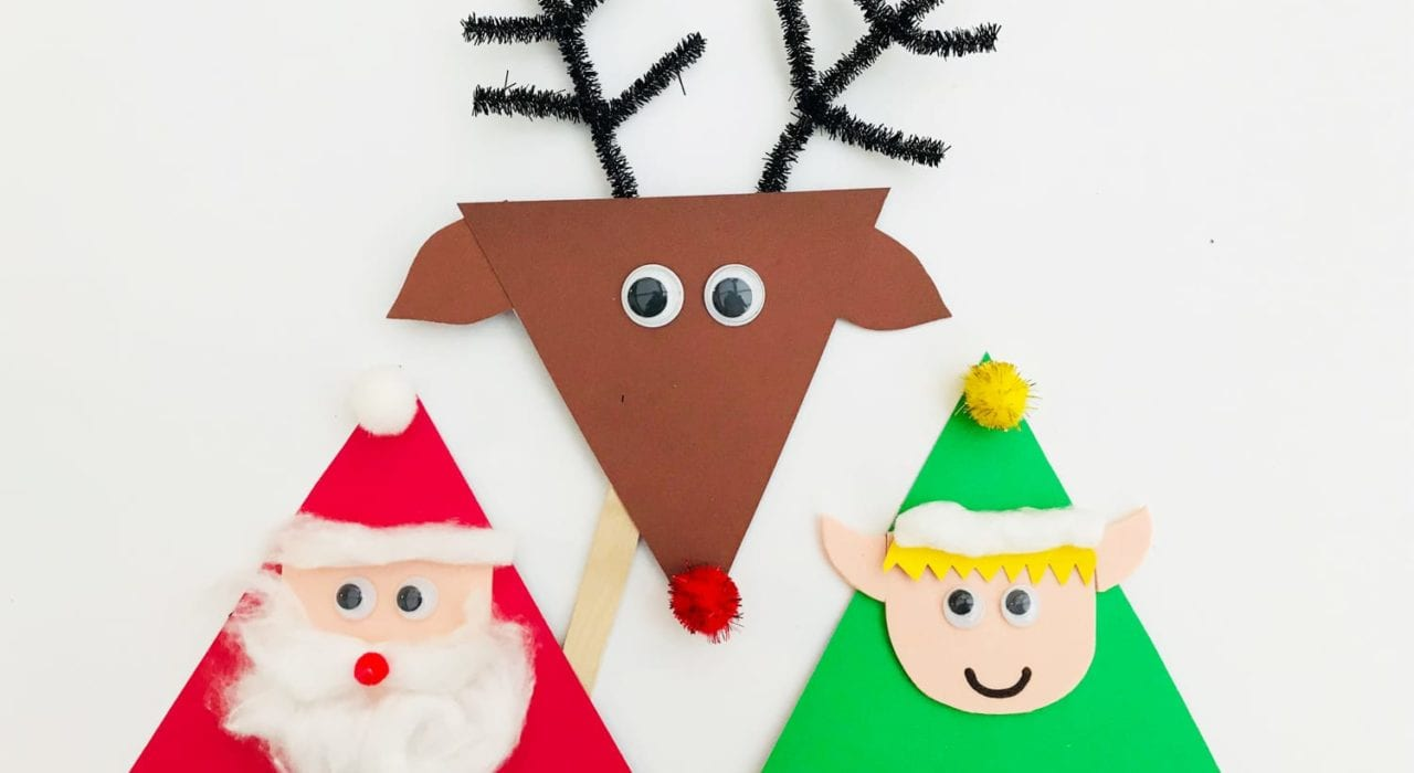 Christmas kids crafts - enjoy this festive craft by making these lolly stick puppets. A fun toddler activityChristmas kids crafts - enjoy this festive craft by making these lolly stick puppets. A fun toddler activity