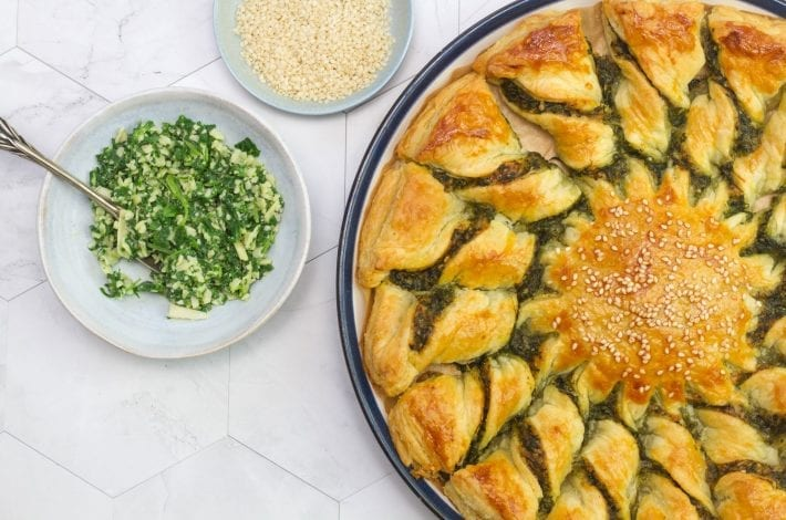 Tarte soleil appetiser with spinach and Parmesan - crispy tasty filo pastry bites with hidden veggies