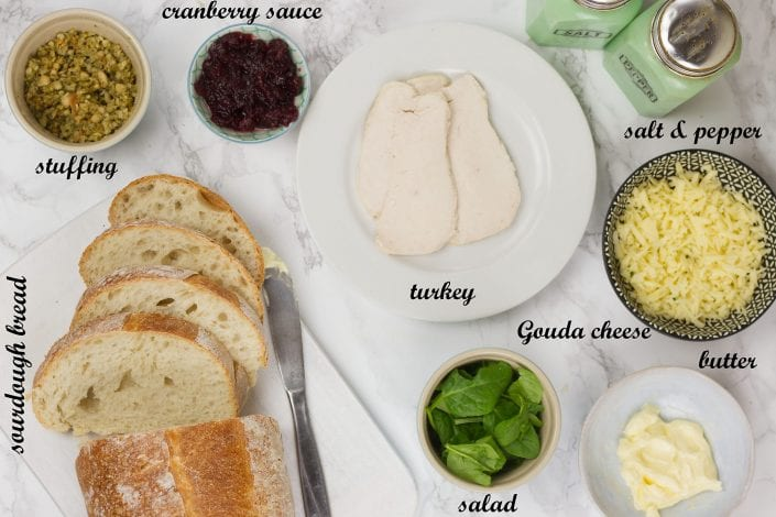 leftover turkey recipe - leftover turkey toastie - boxing day toastie