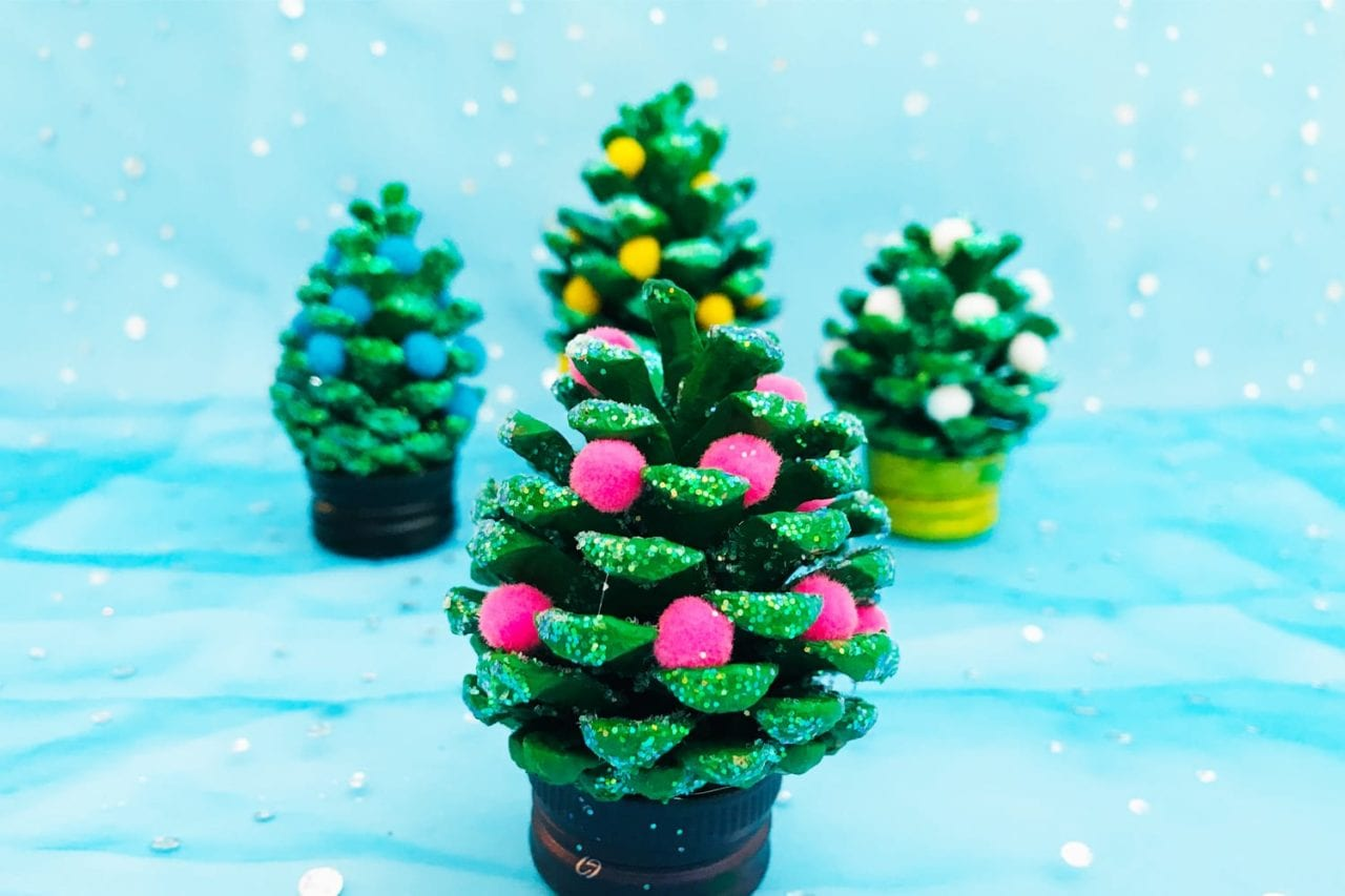 Pom Pom Pine Cone Craft Christmas Crafts For Kids