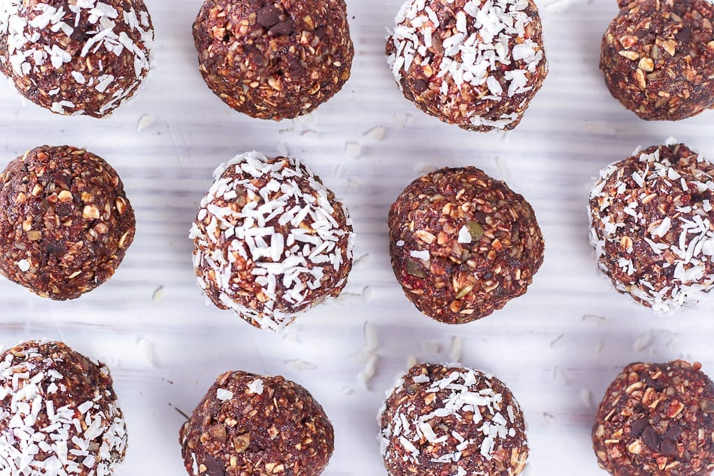 Beetroot bliss balls - try these beetroot and chocolate bliss balls as a healthy energy snack - coat with dessicated coconut to make them beetroot and coconut bliss balls too - great little energy bites