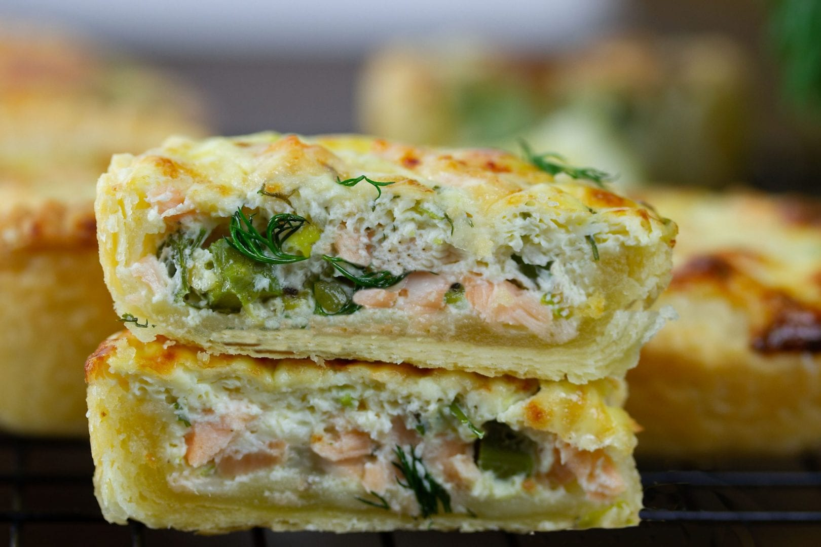 salmon tartlets - make these mini salmon tarts with asparagus dill and parmesan