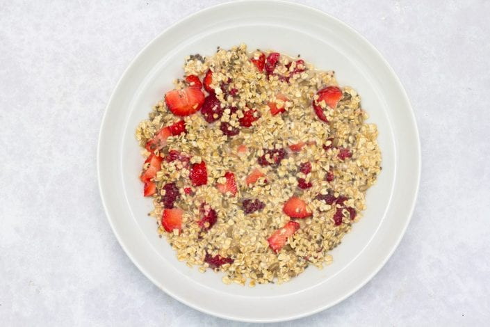 Healthy bircher muesli - try this deliciously healthy bircher muesli made with raspberry strawberries and chia seeds for a healthy breakfast for kids