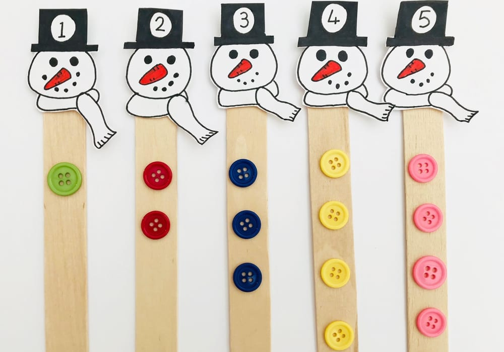 Snowman counting stick - help kids learn to count to 10 with this fun learning game