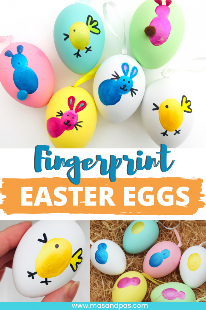Fingerprint Easter egg craft for kids - decorate Easter eggs using thumbprints - fun Easter activity for toddlers preschoolers and kids