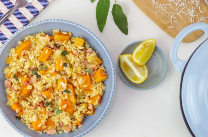 pancetta risotto - make this butternut squash and pancetta risotto for a creamy and delicious family dinner