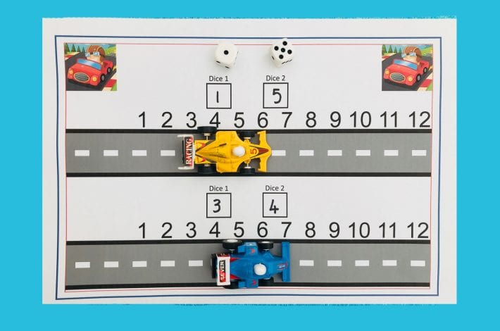 How to make a racing track addition game to practice adding up to 12 - early learning maths activity