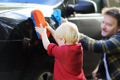 toddler activities with dad car wash