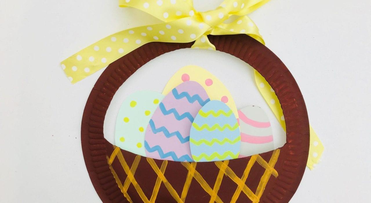 Easter egg basket paper plate craft