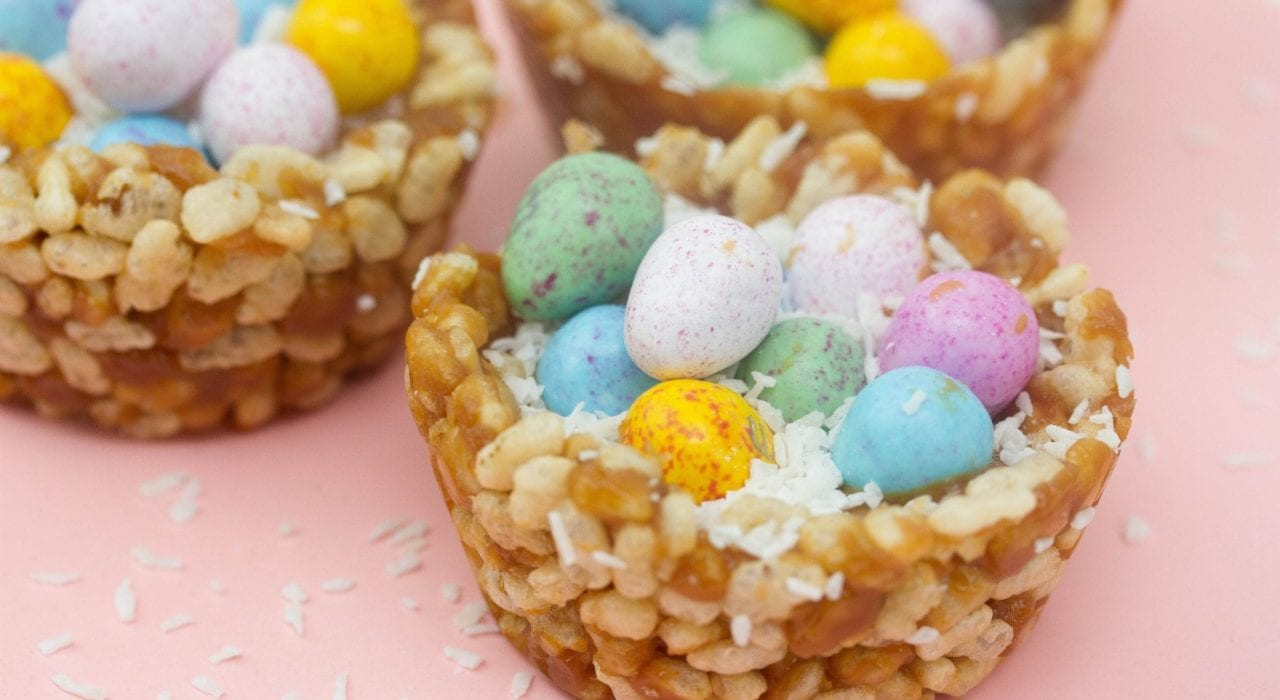 Healthy rice krispie nests - peanut butter easter nests for kids to enjoy a healthy snack this Easter
