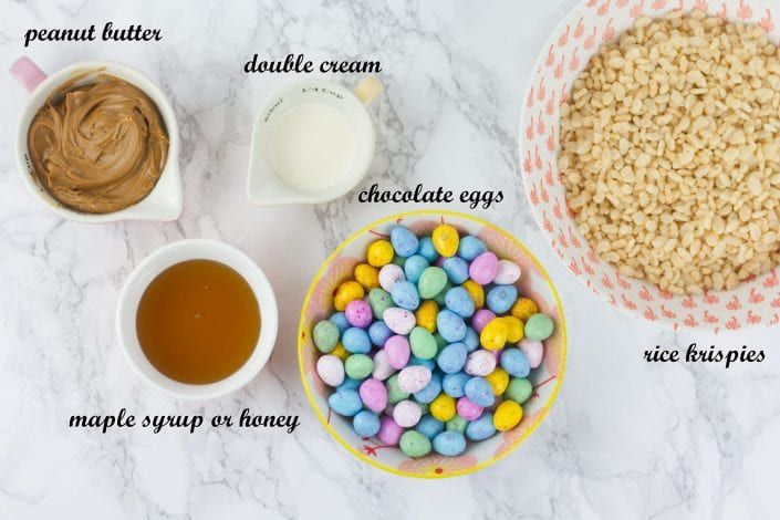 Healthy rice krispie nests - peanut butter easter nests for kids to enjoy a healthy snack this Easter - ingredients