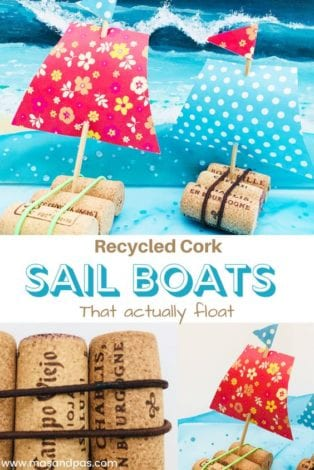 Recycled cork sail boats - make these floating cork boats this year as a great spring or summer craft for kids
