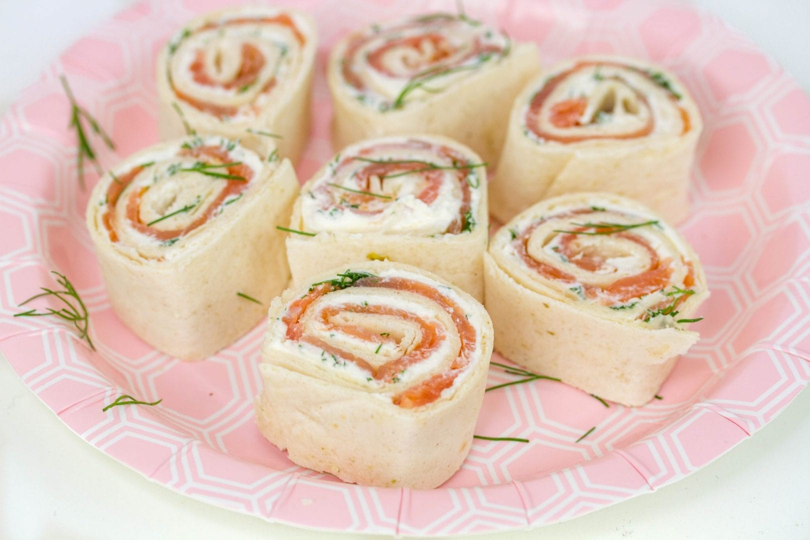 Smoked salmon pinwheels - try these smoked salmon roll ups for quick and easy party food for kids parties