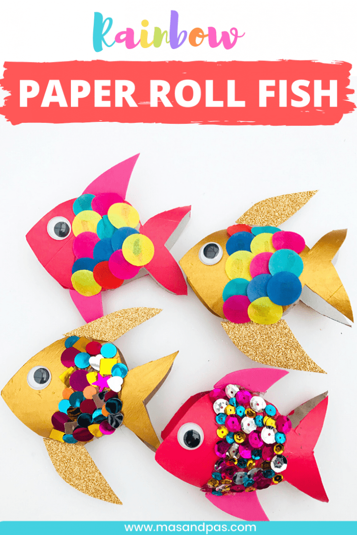 Toilet roll fish craft - make these colourful toilet paper roll fish with sequins or tissue paper as a fun summer craft for kids - pin