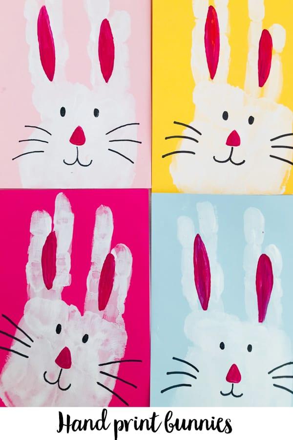 Hand print bunnies - an Easter craft for kids