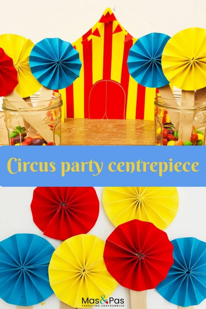 Circus birthday party decorations - make these great carnival or circus party centrepieces for your kids themed birthday party.