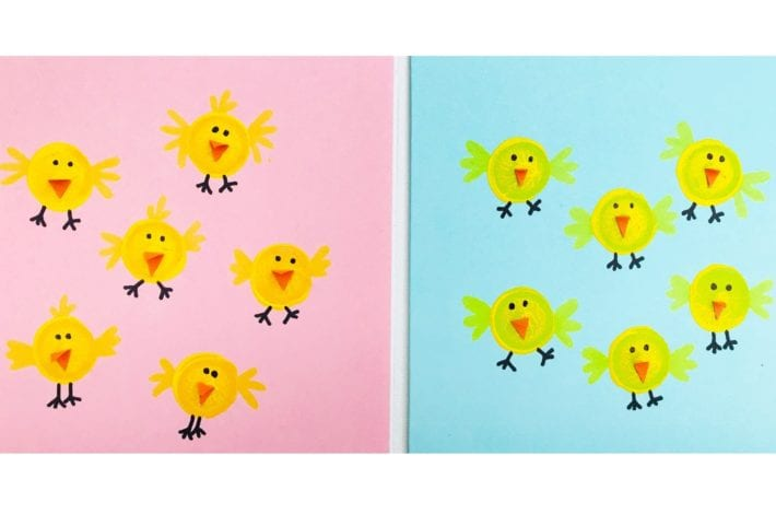 Cork print craft - Easter chick paintings - a perfect Easter craft for kids